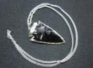 Silver bezel obsidian electro plated arrowhead