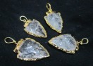 Crystal Quartz electro gold plated arrowhead pendant