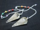 Clear Quartz orgone Pendulum with chakra chain