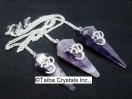 Amethyst 6 Facet Pendulum with OM