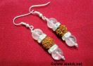 2x1 Crystal Rudraksh with diamond ring earring