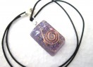 Amethyst rectangle pendant with cord
