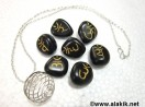 Black Sanskrit Tumble Set with Silver Cage Necklace