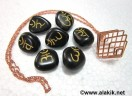 Black Sanskrit Tumble stone set with bronze cage necklace