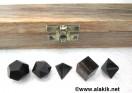 Blue Tiger Eye 5pcs Geometry set with wooden box