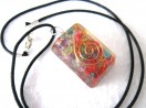 Chakra rectangle orgone pendant with cord