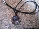 Crystal Quartz Copper Wire Wrapped Ball Pendat with cord