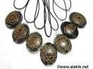 Engrave Chakra Black Tourmaline Orgone Oval Pendant Set