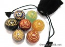 Engrave Chakra Sphere set with pouch