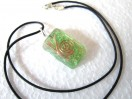 Green rectangle orgone pendant with cord