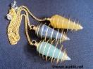 Mix Gemstone Golden Cone cage pendulum