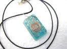 Tourquise rectangle orgone pendant with cord