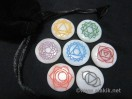 White Agate Engrave Chakra Colourful Disc set with pouch