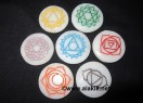 White Agate Engrave Chakra colourful Disc set