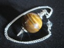 Yellow Tiger Eye Ball pendulum Silver plated
