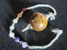 Yellow tiger Eye Ball pendulum with Chakra chain